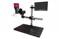 DL-UNI20025Industrial microscope with monitor, elongated stand and backlight