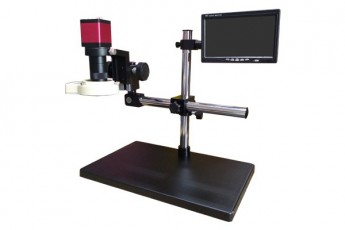 DL-UNI20025 (DL-UNI20030) Industrial microscope with monitor, elongated stand and backlight